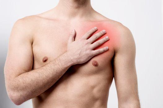 Man having chest pain, heart attack.