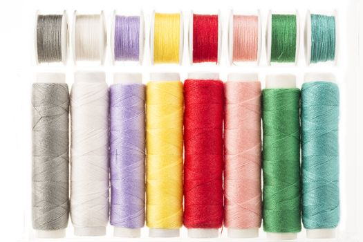Brightly Colored Spools of Thread