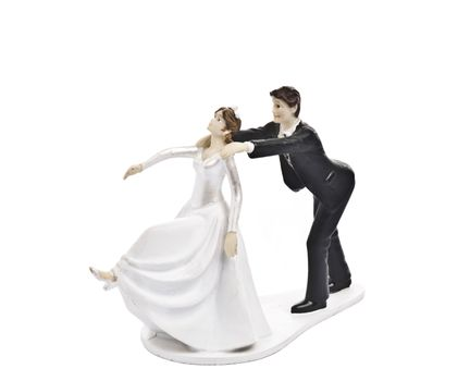 Couple wedding cake topper isolated