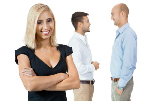 young happy business woman team in background successful isolated