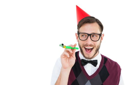 Geeky hipster in party hat with horn