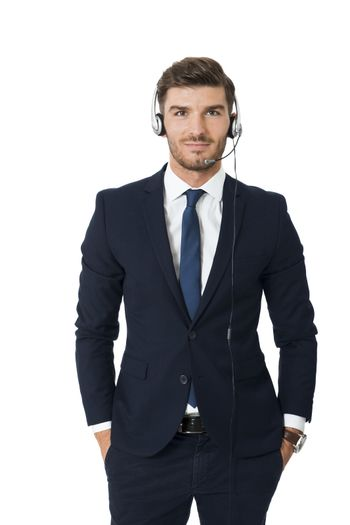 Man wearing headset with stereo headphones