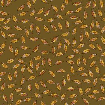 Seamless pattern made of illustrated brown leaves on dark brown