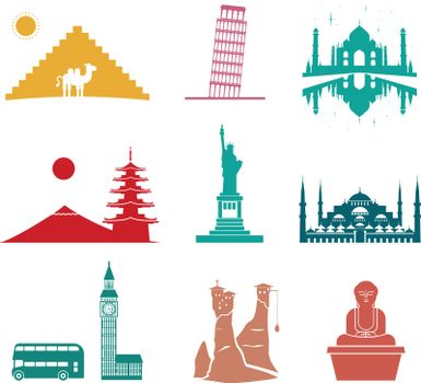 Famous monuments travel icons.