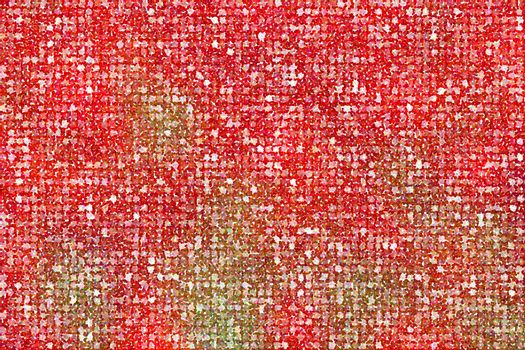 Pointillized multicolored abstract on red background