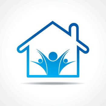 People icon in a home stock vector