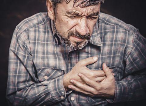 Man having chest pain