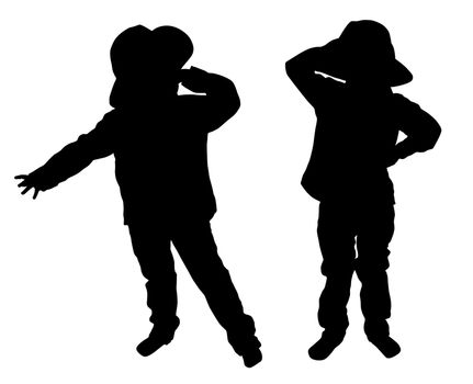 Silhouettes of two little boys with hat