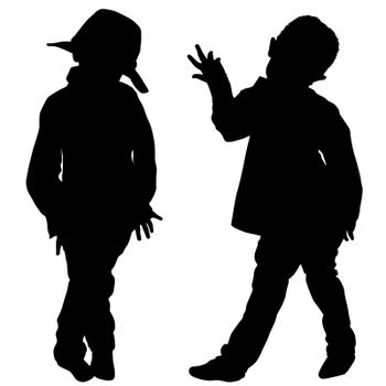 Silhouettes of two little boys dancers