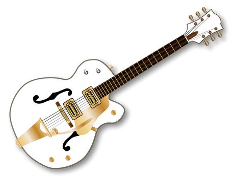 A typical country and western guitar in white over a white background