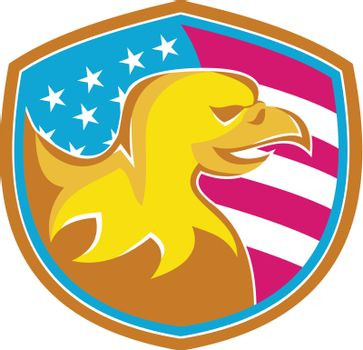 Bald Eagle With American Stars and Stripes