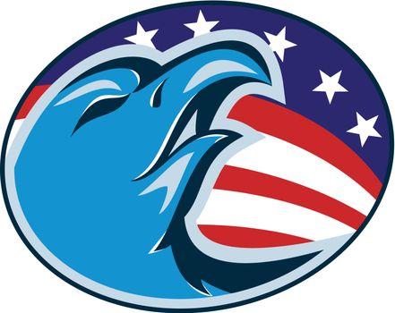 bald eagle american stars and stripes flag