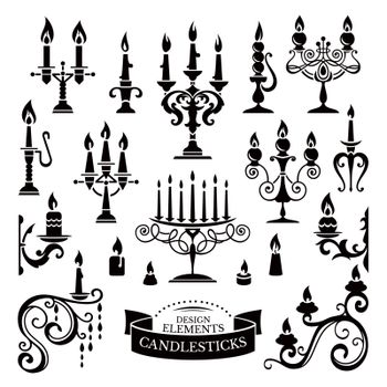 Silhouettes of candlesticks