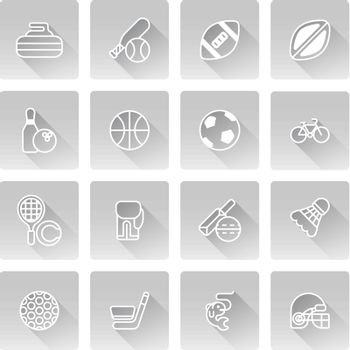 Sports icons set with icons for many sports including baseball, basketball, curling and many more