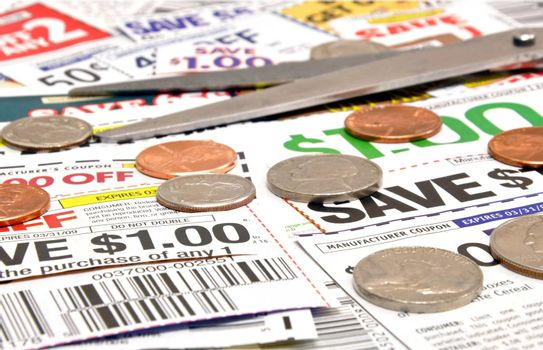 Colorful clipped grocery coupons