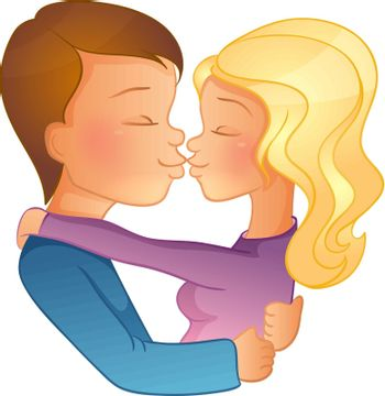 Vector illustration of Happy Valentine's day, couple image