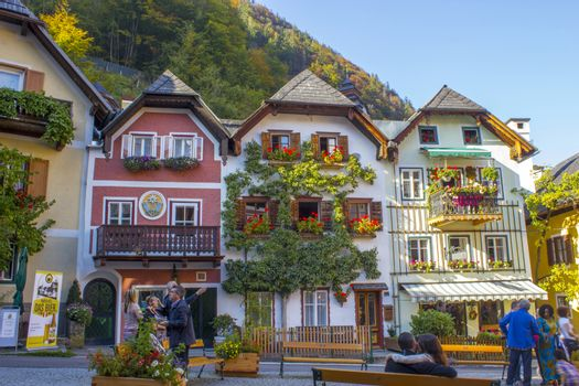 Colorful and picturesque square in Hallstatt, Austria