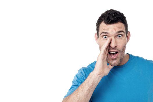 Man calling loudly someone