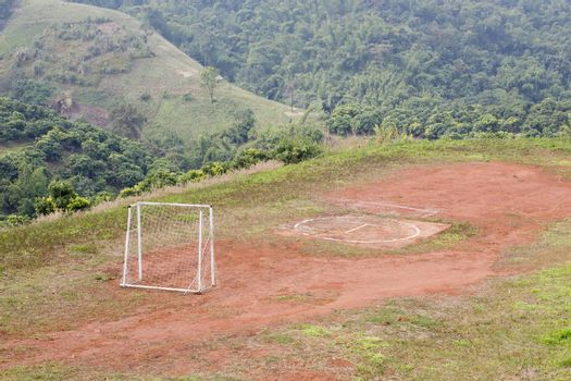 Football playground on the hill in North of Thailand