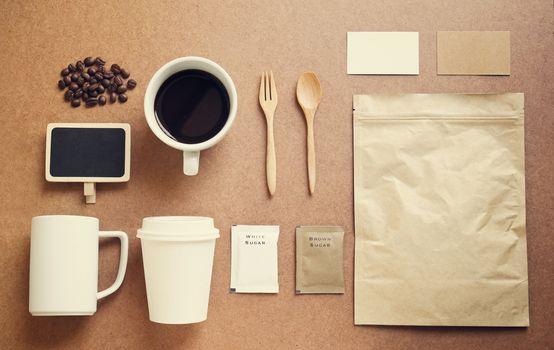 Coffee identity branding mockup set with retro filter effect