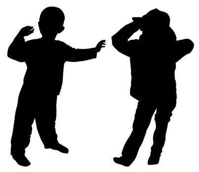 Silhouettes of two little boys who fun