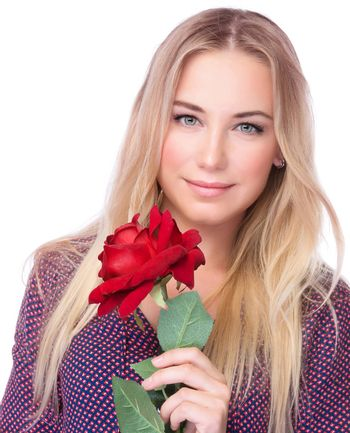 Gorgeous female with red rose