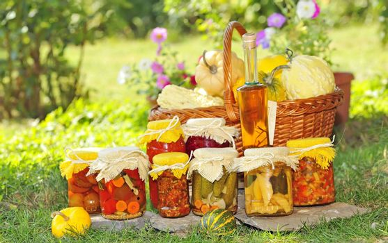Vegetable preserves placed on the grass in the garden