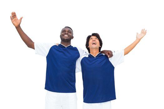 Football players celebrating a win