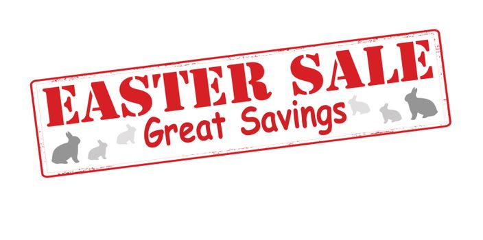 Stamp with text Easter sale inside, vector illustration