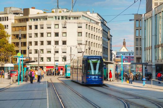 Frankfurt am Main street with a tram