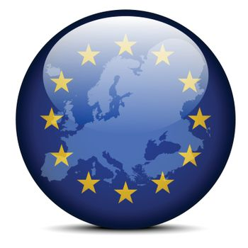 Map on flag button of Continent of Europe