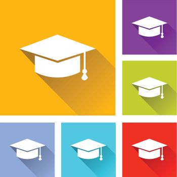 illustration of flat design set icons for education