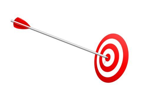 Arrow on red target. Success and winning concept.