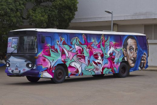 SAO PAULO, BRAZIL - FEBRUARY 01, 2015: A bus painted with grafiti art design exposed in the Ibirapuera Park at Sao Paulo Brazil.