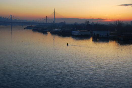 Sunset over Sava river