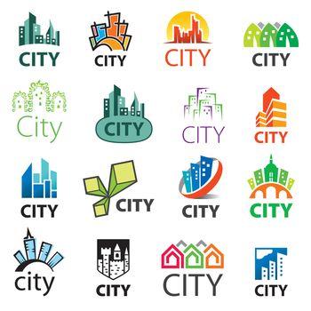 big set of vector logos cities