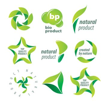 set of vector logos for organic natural products