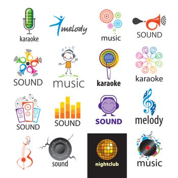 set of vector logos music and sounds