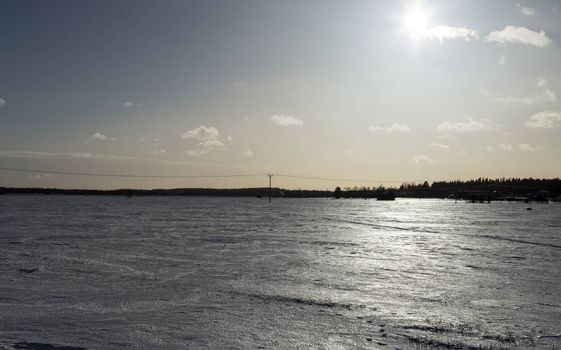 Electricity Pylon in Winter Field