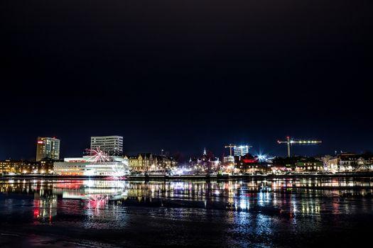 Downtown Umeå, Sweden with Fireworks