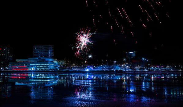 Downtown Umea with Fireworks