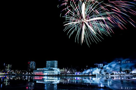 Downtown Umea, Sweden with Fireworks