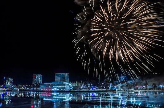 Fireworks over Downtown Umea, Sweden