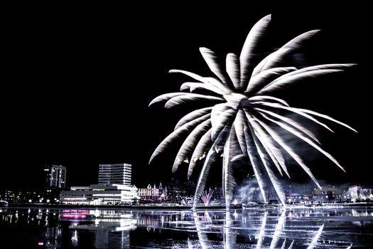 Fireworks over Downtown Umeå, Sweden