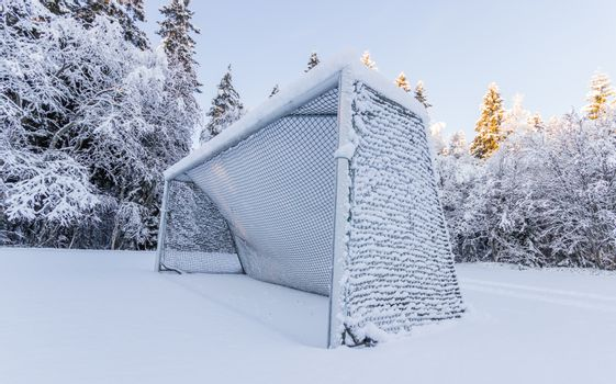 Soccer Goal Covered in Snow