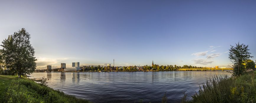 River and City Skyline