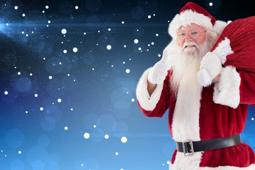 Composite image of santa likes to carry his sack