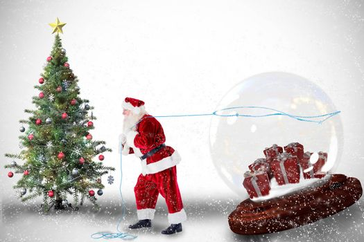 Santa pulling snow globe of presents against white background with vignette