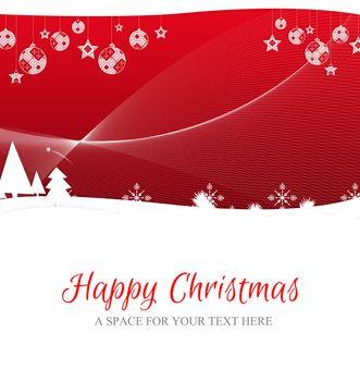 Happy Christmas against fir trees