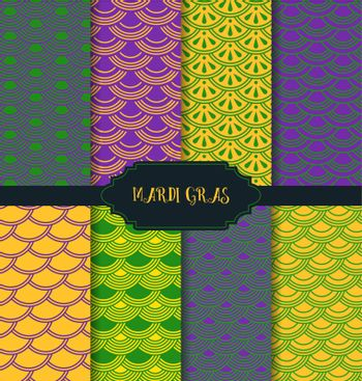 Vector illustration of Mardi Gras pattern backgrounds